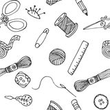 Sewing hand drawn vector pattern Royalty Free Stock Photo