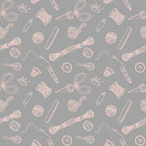 Sewing hand drawn vector pattern Stock Photo