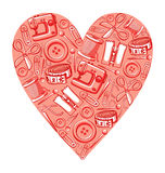 Sewing heart. Decorative pink heart with different craft sewing tools Royalty Free Stock Image
