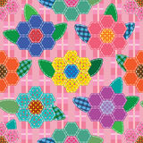 Sewing hexagon flower leaf seamless pattern Stock Images