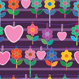 Sewing hexagon flower love hang seamless Royalty Free Stock Images