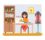 Sewing Hobby Work at Home Craft Flat Design Vector Illustration Stock Photography