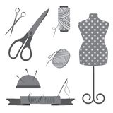 Sewing icon set. Sewing icon set. Vintage style  in grey colors. Retro sewing tools, can be used for logo Stock Photo