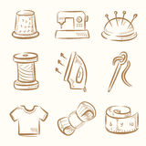 Sewing icon set Stock Photos