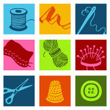 Sewing icons. Vector Hand drawn and designed illustrations Royalty Free Stock Images