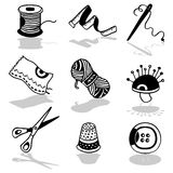 Sewing icons. Vector Hand drawn black & white illustrations Royalty Free Stock Image