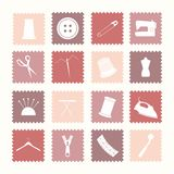 Sewing icons. Sixteen sewing icons. All icons are grouped and on separate layers for easy editing Stock Photo