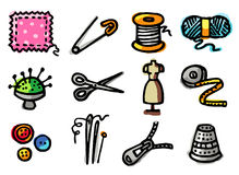 Sewing icons Royalty Free Stock Photography