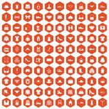 100 sewing icons hexagon orange. 100 sewing icons set in orange hexagon isolated vector illustration vector illustration