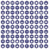 100 sewing icons hexagon purple. 100 sewing icons set in purple hexagon isolated vector illustration Stock Photography