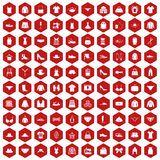 100 sewing icons hexagon red. 100 sewing icons set in red hexagon isolated vector illustration Stock Photo