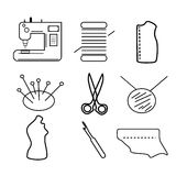 Sewing icons linear sewing business. Seamstress costume designer pattern templates Stock Photos