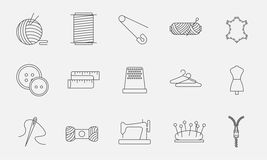 Sewing icons in modern line style. Sewing icons. Embroidery equipment. Bobbin, safety pin, needle, zipper, pincushion and other things for stitching. Line art Vector Illustration