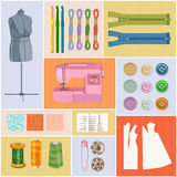 Sewing Icons, multicolor, for tailoring, dressmaking, needlework, do it yourself crafts Royalty Free Stock Photo