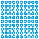 100 sewing icons set blue. 100 sewing icons set in blue hexagon isolated vector illustration Royalty Free Illustration