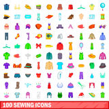 100 sewing icons set, cartoon style Stock Image