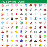 100 sewing icons set, cartoon style. 100 sewing icons set in cartoon style for any design vector illustration Royalty Free Stock Photo