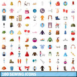 100 sewing icons set, cartoon style. 100 sewing icons set in cartoon style for any design vector illustration Stock Images