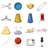 Sewing icons set, cartoon style. Sewing icons set. Cartoon illustration of 16 sewing vector icons for web Stock Images