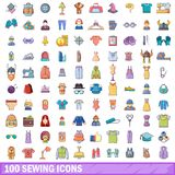100 sewing icons set, cartoon style. 100 sewing icons set. Cartoon illustration of 100 sewing vector icons isolated on white background Stock Images