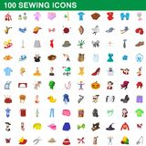 100 sewing icons set, cartoon style. 100 sewing icons set in cartoon style for any design illustration royalty free illustration