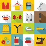 Sewing icons set, flat style. Sewing icons set. Flat illustration of 16 sewing travel icons for web royalty free illustration