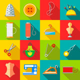 Sewing icons set, flat style Stock Photography
