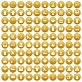100 sewing icons set gold. 100 sewing icons set in gold circle isolated on white vector illustration vector illustration