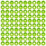 100 sewing icons set green. 100 sewing icons set in green circle isolated on white vectr illustration Royalty Free Illustration
