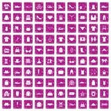 100 sewing icons set grunge pink. 100 sewing icons set in grunge style pink color isolated on white background vector illustration Royalty Free Stock Photography