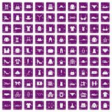 100 sewing icons set grunge purple. 100 sewing icons set in grunge style purple color isolated on white background vector illustration royalty free illustration