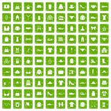 100 sewing icons set grunge green. 100 sewing icons set in grunge style green color isolated on white background vector illustration Vector Illustration