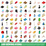 100 sewing icons set, isometric 3d style. 100 sewing icons set in isometric 3d style for any design vector illustration stock illustration