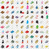 100 sewing icons set, isometric 3d style. 100 sewing icons set in isometric 3d style for any design vector illustration royalty free illustration