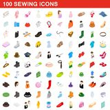 100 sewing icons set, isometric 3d style. 100 sewing icons set in isometric 3d style for any design illustration stock illustration