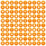 100 sewing icons set orange. 100 sewing icons set in orange circle isolated on white vector illustration royalty free illustration