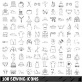 100 sewing icons set, outline style. 100 sewing set in outline style for any design vector illustration vector illustration