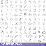 100 sewing icons set, outline style. 100 sewing icons set in outline style for any design vector illustration Stock Photography
