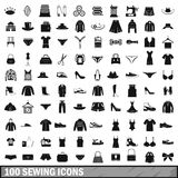 100 sewing icons set, simple style. 100 sewing icons set in simple style for any design vector illustration Stock Photos