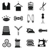 Sewing icons set, simple style. Sewing icons set. Simple illustration of 16 sewing travel icons for web vector illustration