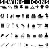 Sewing icons set. On a white background with a shadow stock illustration
