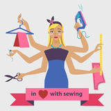 Sewing illustration with dressmaker and differnt tools Royalty Free Stock Photos
