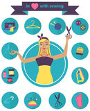 Sewing illustration with dressmaker and differnt tools Stock Photo