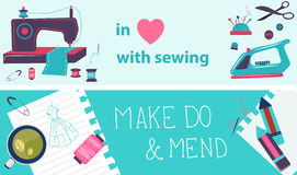 Sewing illustration, flat design, two banners Stock Photo