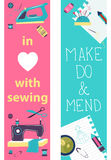 Sewing illustration, flat design, two banners Royalty Free Stock Images