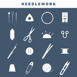 Sewing industry icons. Set of equipment icons for needlework Vector Illustration
