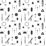 Sewing industry pattern. Tools  for needlework, sewing and knitting. Seamless pattern of the sewing industry. Vector illustration Stock Image