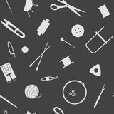 Sewing industry pattern. Tools  for needlework, sewing and knitting. Seamless pattern of the sewing industry. Vector illustration Royalty Free Stock Photography