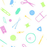 Sewing industry pattern. Tools  for needlework, sewing and knitting. Seamless pattern of the sewing industry. Vector illustration Royalty Free Stock Photos