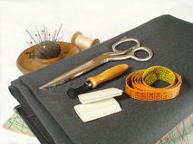 Sewing instruments. Grandmothers sewing instruments Royalty Free Stock Photography
